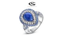 """Позолоченное кольцо """"Blue Edge"""""""